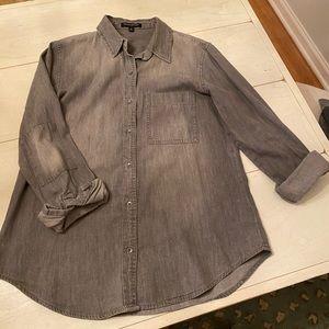 Banana Republic grey denim button up shirt
